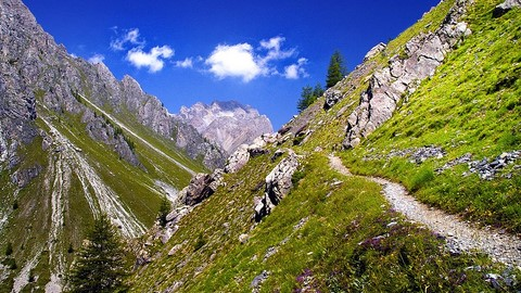 mountain path in maira valley piedmont italy
